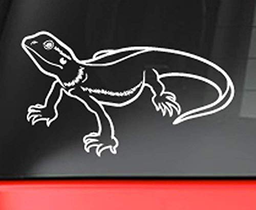 Bearded Dragon Star Decal Sticker - White 5' Vinyl Decal for Car, Macbook, or Other Laptop