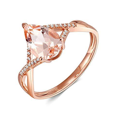 AMDXD Anillo de Oro de 18 Kilates, Anillos de Compromiso Retorcido Diseño Pera Morganita 1.05ct con Blanco Diamante, Oro Rosa, Tamaño 13 (Perímetro: 53mm)