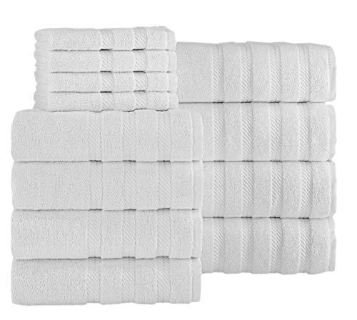 SALBAKOS Luxuriöses Handtuch-Set, 600 g/m², türkische Baumwolle, 12-teiliges Handtuch-Set (weiß)