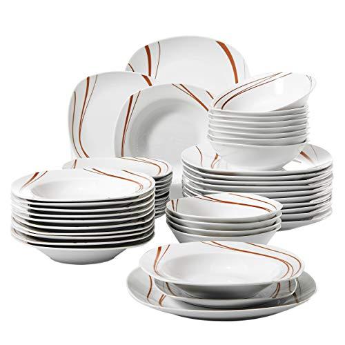 Veweet BONNIE 48pcs Service de Table Pocelaine 12pcs Assiettes Plates 24,6cm, 12pcs Assiette Creuse 21,5cm, 12pcs Assiette à Dessert 19cm, 12pcs Bols à Céréales 17cm Vaisselles pour 12 Personnes