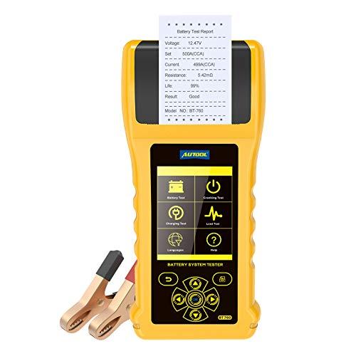 Tester di Carica della Batteria 12V 24V 20-3000 CCA Sistema di Avviamento e Ricarica Analizzatore di Batterie con Stampante per Autocarri, Automobili, Motocicli e Altro