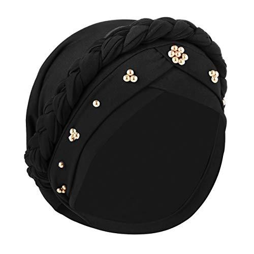 IPENNY Damen Elegante Kopftuch Turban Beanie Hat Bandana Haar Muslim Atmungsaktiv Sonnenschutz Chemo Kappe Haarverlust Islamischen Abaya Dubai Hidschab Stretch Stirnband Mütze KappeTied Head Wrap