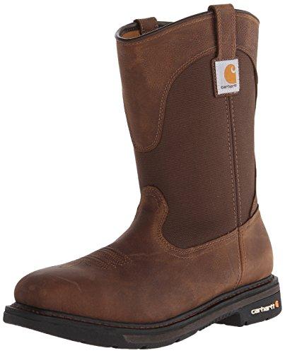 "Carhartt Men's 11"" Wellington Steel Toe Leather Work Boot CMP1208 Construction Shoe, Dark Bison Oil Tanned, 14 Wide"