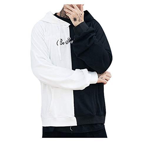 Overdose Sudadera Hombres Patchwork Slim Fit Hoodie OtoñO Moda Outwear Nueva Blusa Adolescente Top 2018 Sudadera (Small, N-Negro)