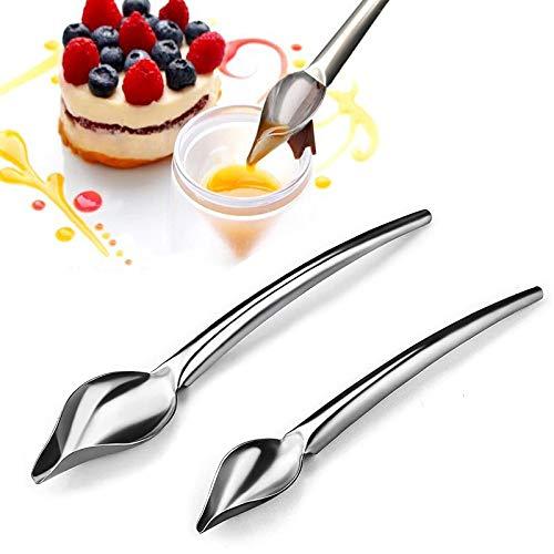 Set di 2 pezzi di cucchiaio filtrante decorativo in acciaio inossidabile a forma di matita,set di cucchiai decorativi per la decorazione di pasticceria,cucchiaio da disegno per cucinare di precisione