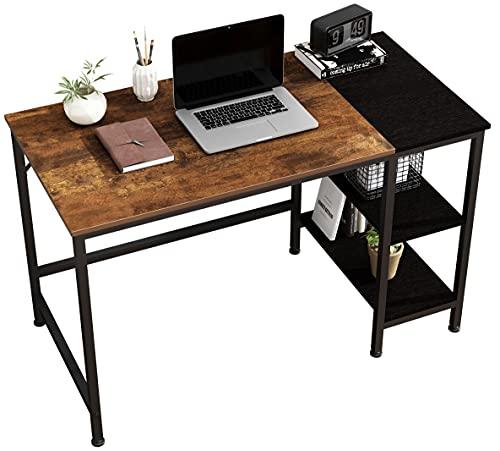 JOISCOPE Computertisch, Schreibtische, Latop-Tisch, Studiertisch mit Holzregalen, Am Arbeitsplätze Verwendet, 120 x 60 x 75 cm (Eiche Vintage Finish)
