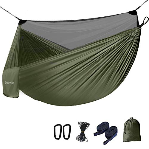 Phiroop Camping Hammock with Mosquito/Bug Net Max Load of 660lbs Hiking Backpacking Survival Outdoor Hammock Tent(Green)