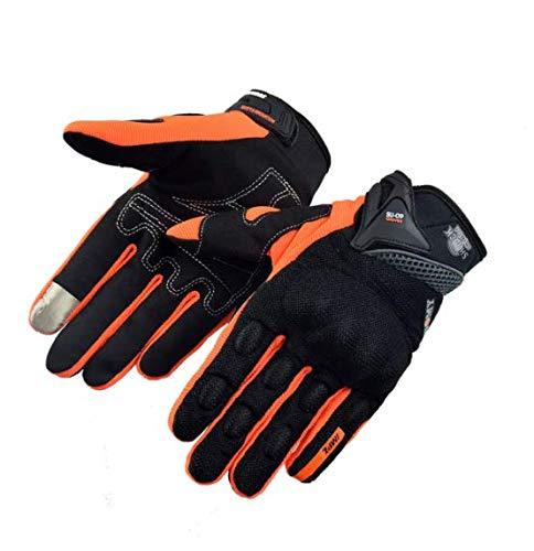 Guante de Carreras de Motocicleta Motocross Gants Guantes de Moto Guantes de Ciclismo de Dedo Completo Pantalla táctil Naranja Tamaño M