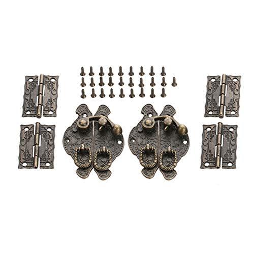 ZZTD Bisagras para muebles de 4 piezas, 2 unidades, bronce antiguo, joyero, caja de madera, cierre de cerrojo