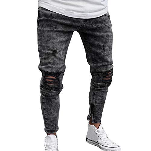 KEERADS HOMEE Pantalon Denim Stretch Maigre Affligé Déchiré Effiloché Coupe Slim Pantalons Jeans(FR-40/CN-M,Gris)