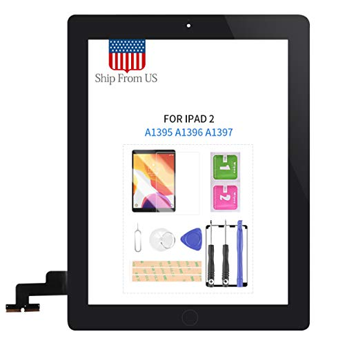 Screen Replacement Kit for iPad 2 2nd iPad2 Generation A1395 A1396 A1397 Touch Screen Digitizer Glass Panel with Home Button Repair Parts Touchscreen Free Tools (Black)
