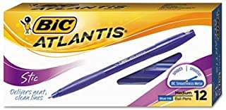 BIC : Atlantis Stick Ball Pen, Clear Barrel, Blue Ink, Medium Point, 1.2 mm -:- Sold as 2 Packs of - 12 - / - Total of 24 Each