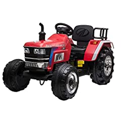 [BEST GIFTS FOR KIDS]: The 12v electric ride-on tractor provides four colors for you to choose, suitable for both girls and boys from 37 to 72 Months. With a push-start button, high and low speed options, steering wheel, handle control, the toy tract...