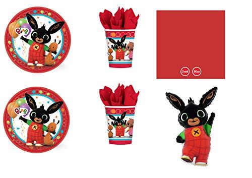Party Store web by casa dolce casa Bing Coordinato ADDOBBI Festa - Kit n°12 CDC-(24 Piatti 23 CM,24 Bicchieri,50 TOVAGLIOLI Rossi,1 Pallone Foil,1 SUPERSHAPE)