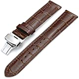 Men's Leather Replacment Watch Band Watch Strap with Deployant Clasp Butterfly Buckle 16mm 18mm 20mm 22mm 24mm for Men (16mm, Brown)