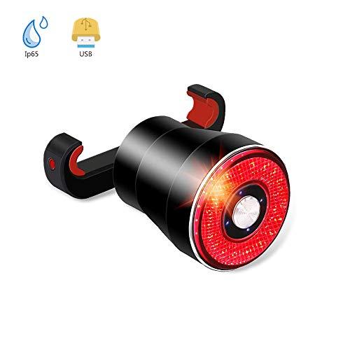 Xiaookoa Smart Fietsachterlicht, USB-oplaadbare remsensor, achterlichten, lichtSense zaklamp, waterdichte ledaccessoires voor racefietsen, eenvoudige montage voor fietsen, achterlicht