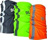 Pack x3 Unidades Reflectantes Braga Calentador de Cuello EKEKO Alta Visibilidad para Moto, Bicicleta, Running y Deportes en General. 3 Bragas de Cuello en Colores Fluor y con Banda Reflectante.