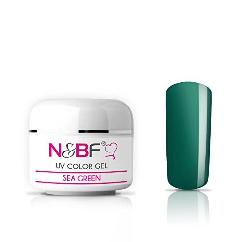 N&BF UV Glasgel 5ml mittelvikos | Farbgel Glas Effekt | Sea Green grün | Made in EU | Premium Colorgel für 3D Glas - Look | Nagelgel farbig transparent | Colourgel für Gelnägel