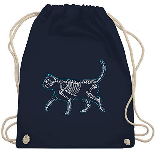 Shirtracer Katzen - spooky cat - Unisize - Navy Blau - tasche mit katzenmotiv - WM110 - Turnbeutel und Stoffbeutel aus Baumwolle
