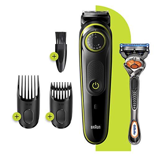 Braun BT3241 Tondeuse électrique Barbe et Cheveux, 39 Réglages De Longueur, Noir/Vert pour Homme