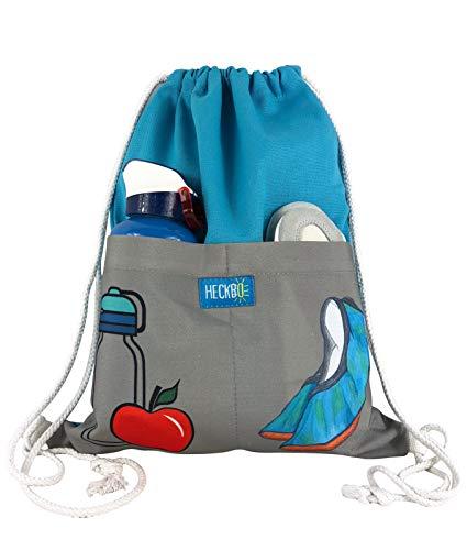 Mochila HECKBO® con 2 prácticos bolsillos color turquesa/gris, Bolsa de gimnasia, mochila,...