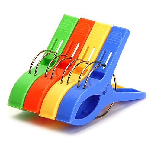 / ongewone nieuwe Pack van 4 grote heldere kleur plastic strandhanddoek Pegs Clips naar zonnebank