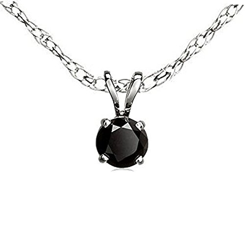 Dazzlingrock Collection 0.25 Carat (ctw) Round Cut Black Diamond Solitaire Pendant (Chain Included) 1/4 CT, Sterling Silver