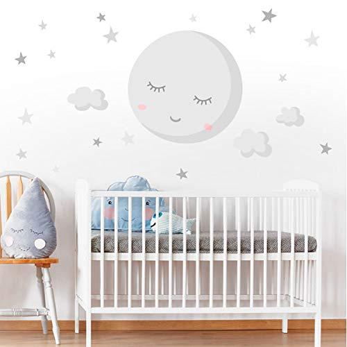 Vinilo para bebé - Luna llena con estrellas. Luna gris - T0- Basico 80x40 cm