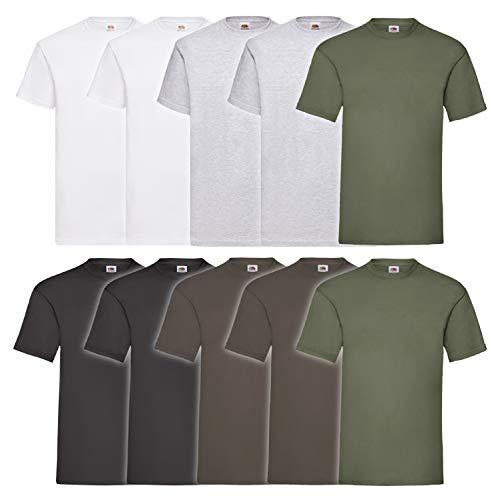 Fruit of the Loom 10 T Shirts Valueweight T Rundhals S M L XL XXL 3XL 4XL 5XL Übergröße Diverse Farbsets auswählbar (L, 2 Weiß/2 Grau/2 Schwarz/2 Olive/2 Schoko)