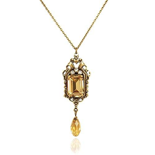 nobel-schmuck Jugendstil Kette mit Kristalle von Swarovski® Gold Braun