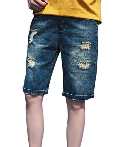 BOLAWOO-77 Pantalones Cortos para Cargo Hombre Jeans Ocio Bermuda Vintage Mode De Marca Destroyed Short Ripped Ripped Denim Stretch Pantalones Cortos De Ocio