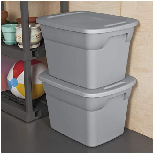 Case of 8, 18 Gallon Durable Construction Molded-in Handles Tote Box- Steel, Gray 4