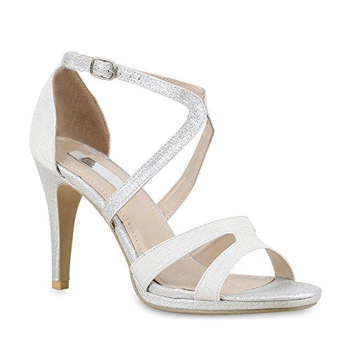 Damen Riemchensandaletten Sandaletten Stilettos High Heels Abiball Hochzeit Braut Schuhe 130258 Silber Glitzer Schnalle 40 Flandell