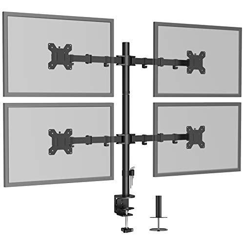 BONTEC Soporte Monitor para 4 Monitores 13-27 Pulgadas LED/LCD Soporte PC Soporte para Mesa, Peso Máximo 10KG de Cada Brazo, Giro de 360° y Rotación de 180°, Altura Ajustable, VESA 75x75/100x100 Negro