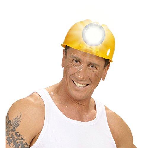 NET TOYS Bauarbeiter Helm mit Lampe Bauhelm Schutzhelm Kopfschutz Sicherheitshelm