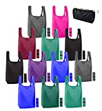 12 pack reusable bags for shopping. Ripstop Eco friendly recycle bags. Reusable grocery bags foldable washable reusable XL tote bags bulk with handles. 50 lb grocery bag holder. Heavy duty tote bags
