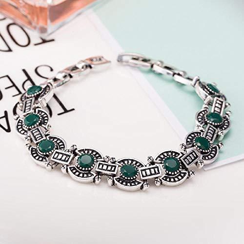Zuiaidess Armbänder Für Damen,Vintage Persönlichkeit Armband Green Diamond Versilbert Farbe Neuheit Form Armbänder Für Mädchen Frauen Alltag Schmuck 18 cm