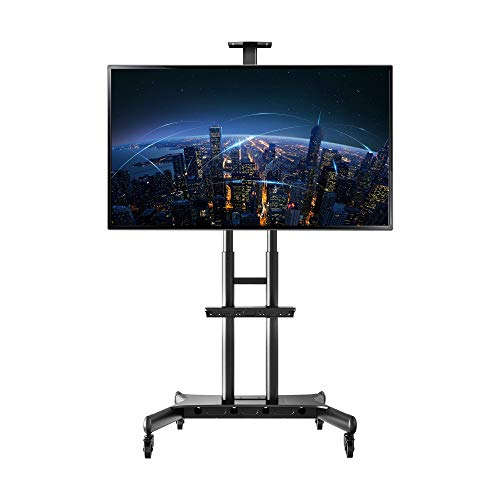 """NORTHBAYOU CA70 Multi-Functional Mobile TV Cart for 50"""" - 80"""" LED LCD Flat Panel Screen TVs up to 200 lbs (50"""" to 80"""") with One Middle AV Shelf and One Top Video Camera Shelf"""