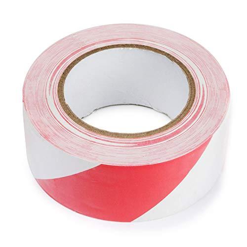 1xGefahren-Markierungs-PVC - Klebeband, Gestreiftes Warnband zur Boden- und Sicherheitsmarkierung, Rot-Weiß, 50mm x 50m