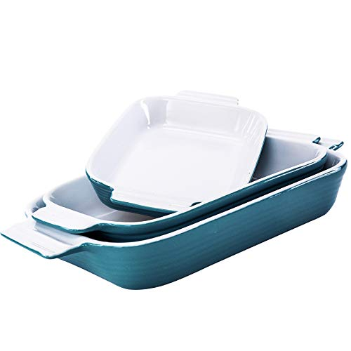 Hompiks Baking Dish Casserole Dishes Porcelain Bakeware Sets for the Oven Baking Dish Set of 3 for Kitchen Lasagna Red 11.02 x 8.35 Inch Baking Pans