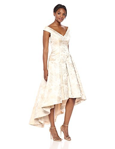 Eliza J Women's Floral High-Low Gown Dress, Champagne, 12