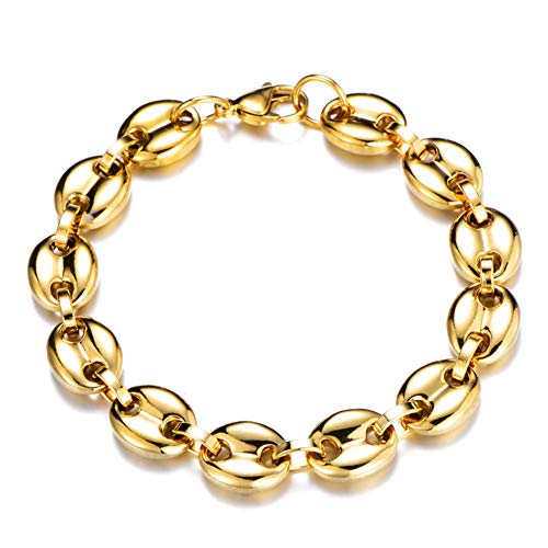 J.Me.Mi Herren Halskette Edelstahl Armband Schmuck Set Kaffeebohne Bohnen Anhänger Farben zur Auswahl, Längen 60cm,GoldBracelet