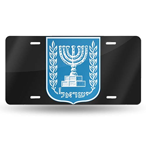 LicensePlts Placa de matrícula Personalizada, 6 x 12 Pulgadas, Emblema de Israel para decoración de Coche, Blanco, Talla única