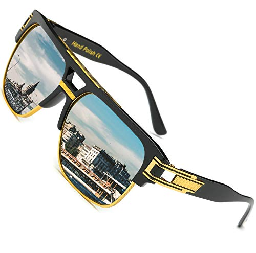 SHEEN KELLY Große Retro Sonnenbrille Square Brille Herren Damen Spiegel Linsen Luxus Eyewear Schwarz Hälfte Rahmen Metall Gold UV400 Oversized Mirror
