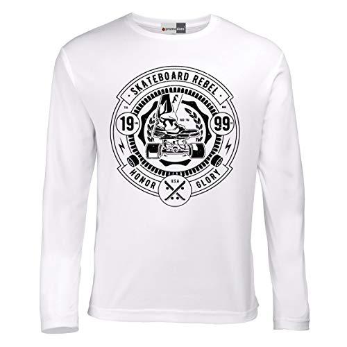 Skateboard Rebel Champions Skate Rollbrett Langarmshirt Longsleeve T-Shirt (L, Weiß)