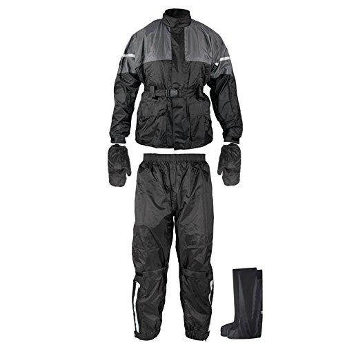 A-Pro Regenanzug Ganzkörper Wasserdicht Handschuhe Stiefel Motorradkombi Schwarz S