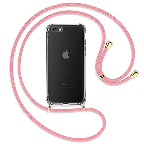 TBOC Funda para iPhone 6 [4.7'] - Carcasa Transparente con Cuerda [Rosa] para Móvil Cordón Ajustable Práctico Collar de Moda Cadena para Cuello Resistente Arañazos