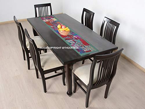 The Art Box Tapis de Table en Coton Style Indien Vintage Motif Patchwork Vert Art déco 20 x 60 inch Vert