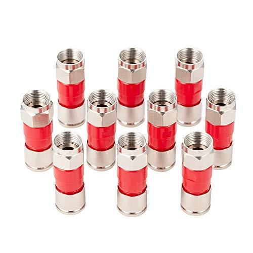 Conectores de Cable coaxial RG6, Paquete de 20 Conectores F para Cable coaxial, para satélite, DIRECTV, Dish Network, TV, DTV, TWC, Antena