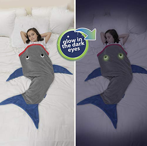 """Product Image 5: Blankie Tails   Shark Blanket, New Shark Tail Double Sided Super Soft and Cozy Minky Fleece Blanket, Machine Washable Wearable Blanket (56"""" H x 27"""" (Kids Ages 5-12), Glow in The Dark – Gray & Blue)"""